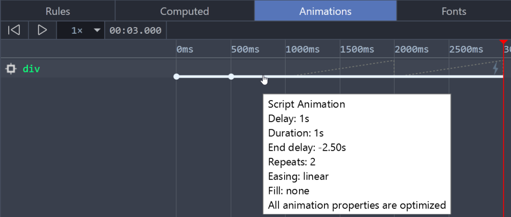 DevTools when viewing an animation with a negative end delay larger than its active duration