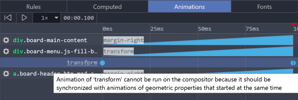 DevTools showing an explanation for why animation of the transform property could not be optimized.